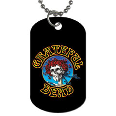 Dog Tag Pendant Necklace : Grateful Dead - Skull & Roses