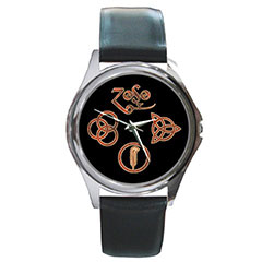 Round Silver-Tone Metal Watch : Led Zeppelin Symbols