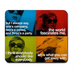 Mousepad : Andy Warhol - Photo Quotes Collage (Blue, Green, Red, Orange)