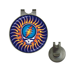 Golf Ball Marker Hat Clip : Grateful Dead - Steal Your Face - Sun