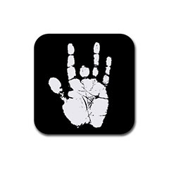 Rubber Coasters (4 Pack - Square) : Jerry Garcia Handprint