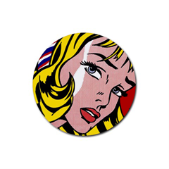 Round Coaster : Roy Lichtenstein - Girl With Hair Ribbon