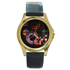 Round Gold-Tone Metal Watch : Wassily Kandinsky - Gravitation