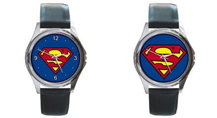 Round Silver-Tone Metal Watch : Superman Shield