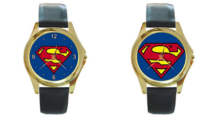 Round Gold-Tone Metal Watch : Superman Shield