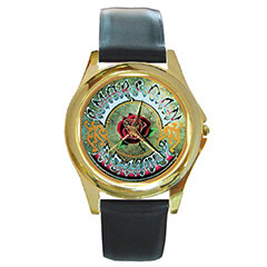 Round Gold-Tone Metal Watch : Grateful Dead - American Beauty