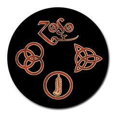 Mousepad (Round) : Led Zeppelin Symbols