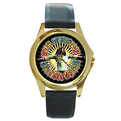 Round Gold-Tone Metal Watch : Bob Marley - Natural Mystic