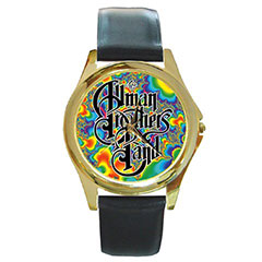 Round Gold-Tone Metal Watch : Allman Brothers Band - Fractal