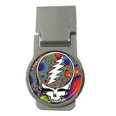 grateful dead steal your face fractal round money clip. Black Bedroom Furniture Sets. Home Design Ideas
