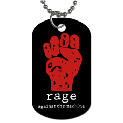 Dog Tag Pendant Necklace : Rage Against The Machine - Fist