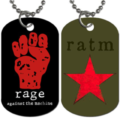 Dog Tag Pendant Necklace : Rage Against The Machine - Fist & Star