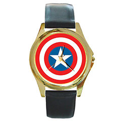 Round Gold-Tone Metal Watch : Captain America Shield
