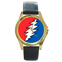 Round Gold-Tone Metal Watch : Grateful Dead - Bolt