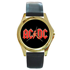 Round Gold-Tone Metal Watch : AC/DC