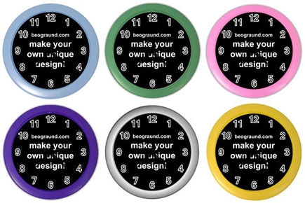 Wall Clock - Custom Design (Baby Blue, Green, Pink, Purple, Silver, Yellow)