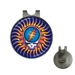 Golf Hat Clip with Ball Marker : Grateful Dead - Steal Your Face - Sun