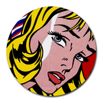 Mousepad (Round) : Roy Lichtenstein - Girl With Hair Ribbon