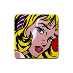 Coasters (4 Pack - Square) : Roy Lichtenstein - Girl With Hair Ribbon