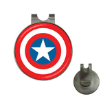 Golf Hat Clip with Ball Marker : Captain America Shield