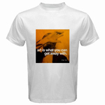 White T-Shirt : Andy Warhol - Photo Quote (Yellow)