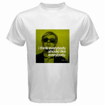 White T-Shirt : Andy Warhol - Photo Quote (Green)