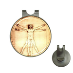 Golf Hat Clip with Ball Marker : Leonardo da Vinci - Vitruvian Man