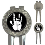 Golf Divot Repair Tool : Jerry Garcia Handprint (black-white)
