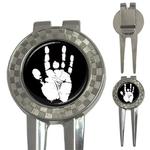 Golf Divot Repair Tool : Jerry Garcia Handprint (black-white)