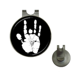 Golf Hat Clip with Ball Marker : Jerry Garcia Handprint (black-white)