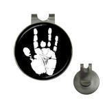Golf Hat Clip with Ball Marker : Jerry Garcia Handprint (black-white)