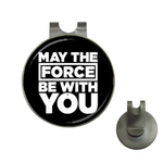 Golf Hat Clip with Ball Marker : May The Force Be With You (black-white)