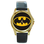 Gold-Tone Watch : Batman Shield