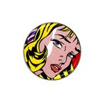 Golf Ball Marker : Girl with Hair Ribbon by Roy Lichtenstein