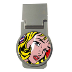 Money Clip (Round) : Girl with Hair Ribbon by Roy Lichtenstein