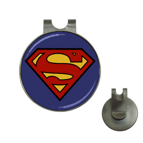 Golf Hat Clip with Ball Marker : Superman Shield