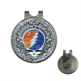 Golf Hat Clip with Ball Marker : Grateful Dead - Aztec - Steal Your Face