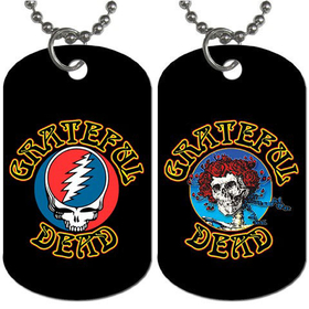 Dog Tag Necklace : Grateful Dead - Steal Your Face - Skull & Roses