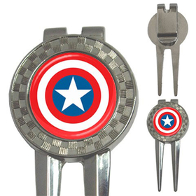 Golf Divot Repair Tool : Captain America Shield