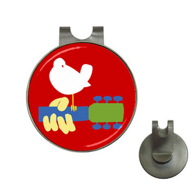 Golf Hat Clip with Ball Marker : Woodstock Festival 1969, Dove & Guitar