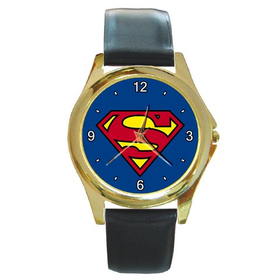 Gold-Tone Watch : Superman Shield