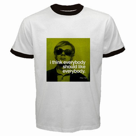Ringer T-Shirt : Andy Warhol - Photo Quote (Green)