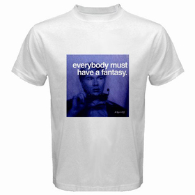 White T-Shirt : Andy Warhol - Photo Quote (Dark Blue)