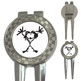 Golf Divot Repair Tool : Pearl Jam - Stickman (white-black)