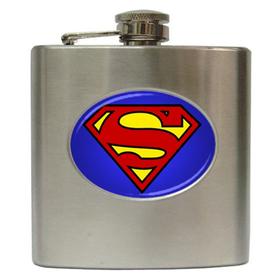 Liquor Hip Flask (6oz) : Superman Shield