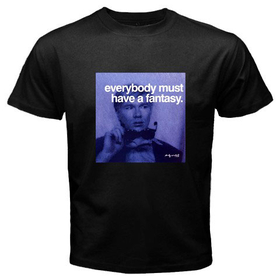 Black T-Shirt : Andy Warhol - Photo Quote (Dark Blue)