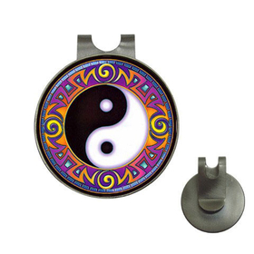 Golf Hat Clip with Ball Marker : Yin Yang Tribal