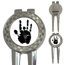 Golf Divot Repair Tool : Jerry Garcia Handprint (white-black)