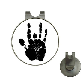 Golf Hat Clip with Ball Marker : Jerry Garcia Handprint (white-black)