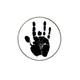 Golf Ball Marker : Jerry Garcia Handprint (white-black)